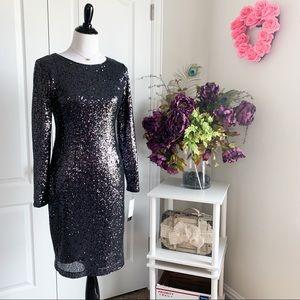 Betsy Adam Sequin Long Sleeve Dress